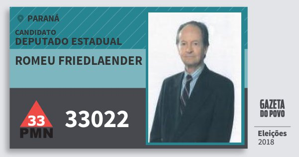 Santinho Romeu Friedlaender 33022 (PMN) Deputado Estadual | Paraná | Eleições 2018