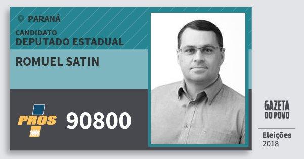 Santinho Romuel Satin 90800 (PROS) Deputado Estadual | Paraná | Eleições 2018