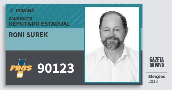 Santinho Roni Surek 90123 (PROS) Deputado Estadual | Paraná | Eleições 2018