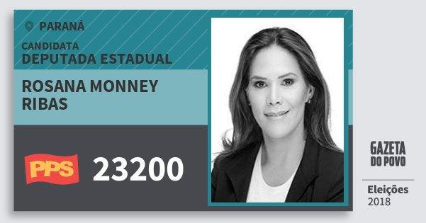 Santinho Rosana Monney Ribas 23200 (PPS) Deputada Estadual | Paraná | Eleições 2018