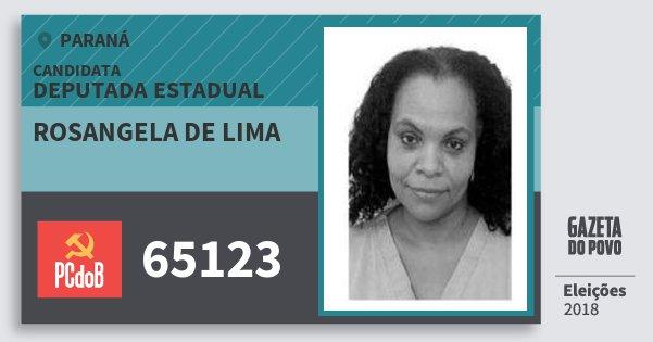 Santinho Rosangela de Lima 65123 (PC do B) Deputada Estadual | Paraná | Eleições 2018