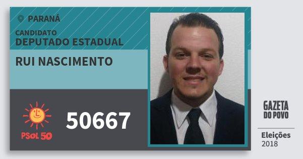 Santinho Rui Nascimento 50667 (PSOL) Deputado Estadual | Paraná | Eleições 2018