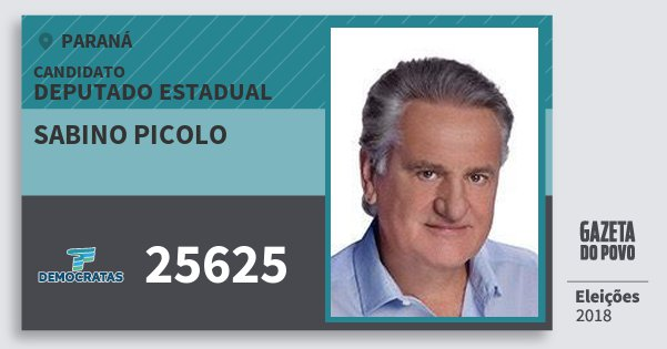 Santinho Sabino Picolo 25625 (DEM) Deputado Estadual | Paraná | Eleições 2018