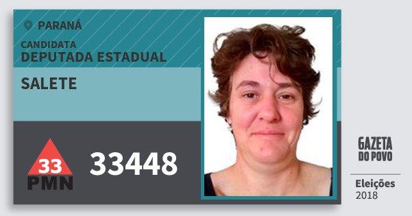 Santinho Salete 33448 (PMN) Deputada Estadual | Paraná | Eleições 2018