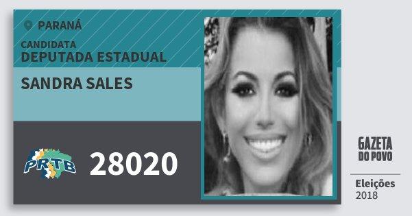 Santinho Sandra Sales 28020 (PRTB) Deputada Estadual | Paraná | Eleições 2018