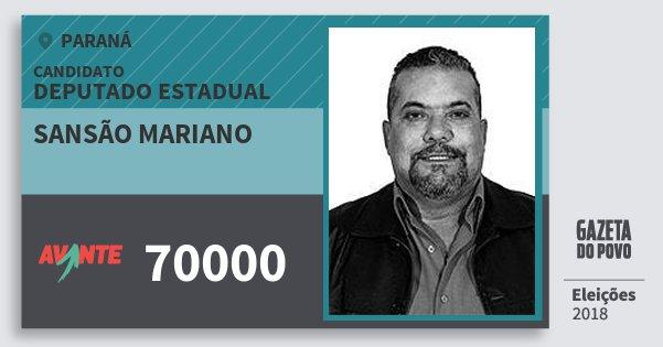 Santinho Sansão Mariano 70000 (AVANTE) Deputado Estadual | Paraná | Eleições 2018