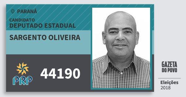 Santinho Sargento Oliveira 44190 (PRP) Deputado Estadual | Paraná | Eleições 2018