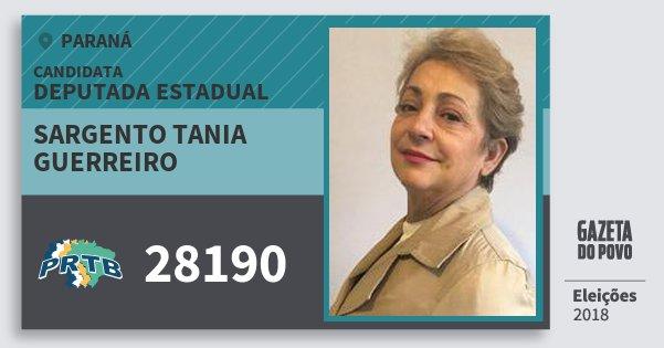 Santinho Sargento Tania Guerreiro 28190 (PRTB) Deputada Estadual | Paraná | Eleições 2018