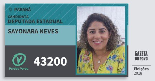 Santinho Sayonara Neves 43200 (PV) Deputada Estadual | Paraná | Eleições 2018