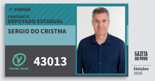 Santinho Sergio do Cristma 43013 (PV) Deputado Estadual | Paraná | Eleições 2018