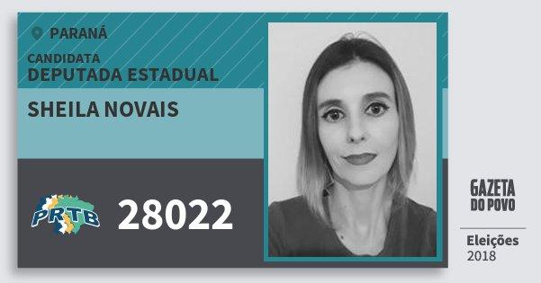 Santinho Sheila Novais 28022 (PRTB) Deputada Estadual | Paraná | Eleições 2018