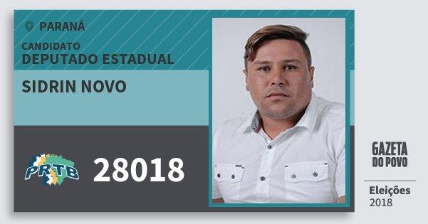 Santinho Sidrin Novo 28018 (PRTB) Deputado Estadual | Paraná | Eleições 2018