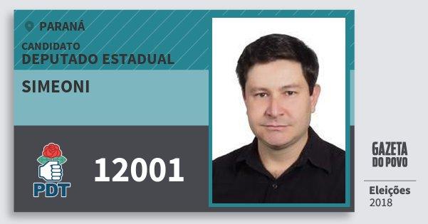 Santinho Simeoni 12001 (PDT) Deputado Estadual | Paraná | Eleições 2018