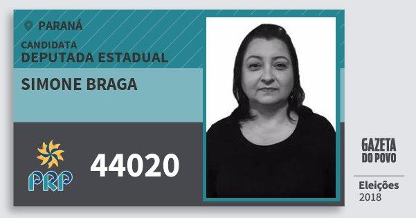 Santinho Simone Braga 44020 (PRP) Deputada Estadual | Paraná | Eleições 2018