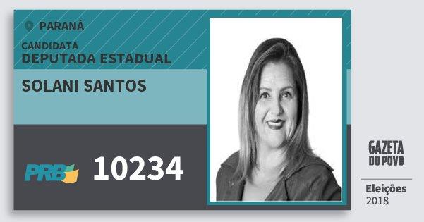 Santinho Solani Santos 10234 (PRB) Deputada Estadual | Paraná | Eleições 2018