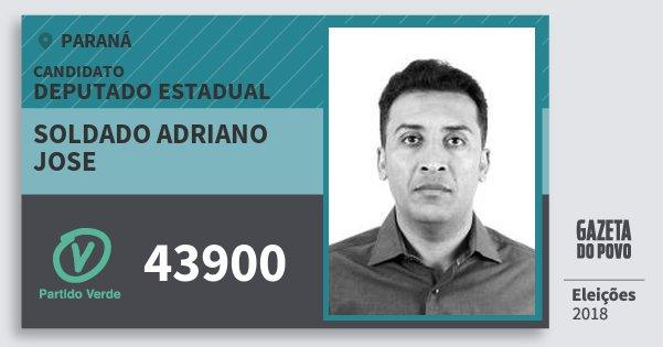 Santinho Soldado Adriano Jose 43900 (PV) Deputado Estadual | Paraná | Eleições 2018