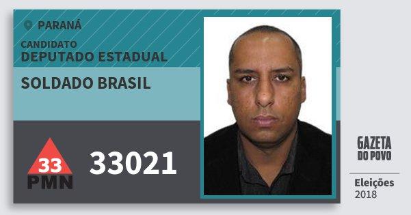 Santinho Soldado Brasil 33021 (PMN) Deputado Estadual | Paraná | Eleições 2018