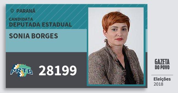 Santinho Sonia Borges 28199 (PRTB) Deputada Estadual | Paraná | Eleições 2018