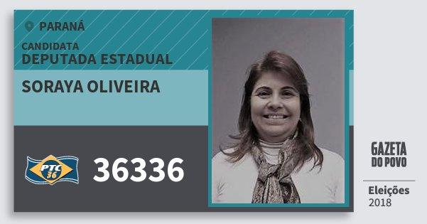 Santinho Soraya Oliveira 36336 (PTC) Deputada Estadual | Paraná | Eleições 2018