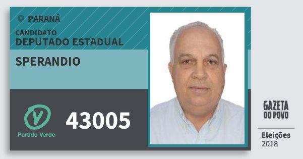 Santinho Sperandio 43005 (PV) Deputado Estadual | Paraná | Eleições 2018