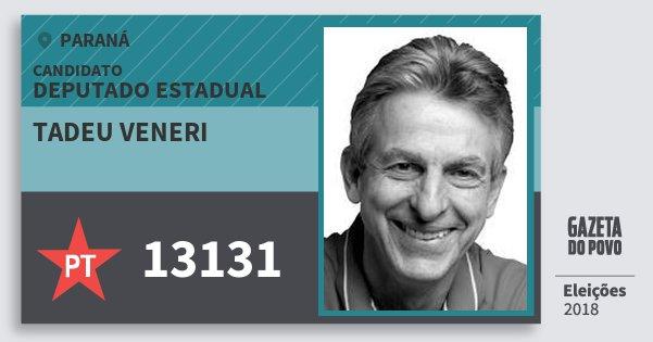 Santinho Tadeu Veneri 13131 (PT) Deputado Estadual | Paraná | Eleições 2018