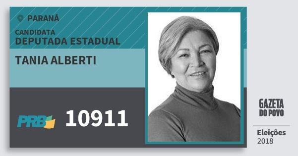 Santinho Tania Alberti 10911 (PRB) Deputada Estadual | Paraná | Eleições 2018