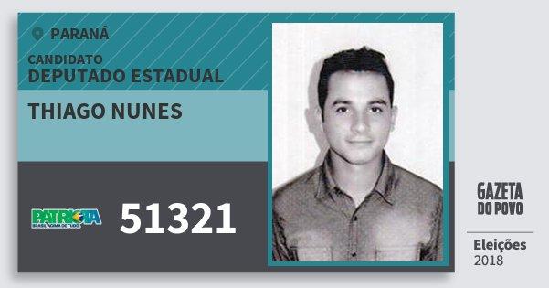 Santinho Thiago Nunes 51321 (PATRI) Deputado Estadual | Paraná | Eleições 2018