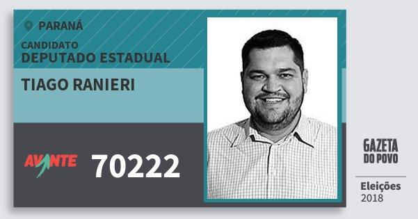 Santinho Tiago Ranieri 70222 (AVANTE) Deputado Estadual | Paraná | Eleições 2018