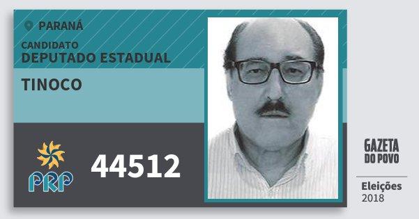 Santinho Tinoco 44512 (PRP) Deputado Estadual | Paraná | Eleições 2018