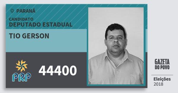 Santinho Tio Gerson 44400 (PRP) Deputado Estadual | Paraná | Eleições 2018