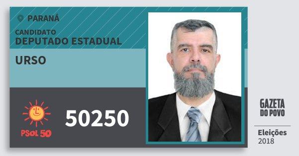 Santinho Urso 50250 (PSOL) Deputado Estadual | Paraná | Eleições 2018