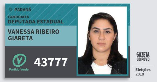 Santinho Vanessa Ribeiro Giareta 43777 (PV) Deputada Estadual | Paraná | Eleições 2018