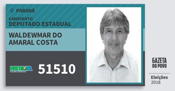 Santinho Waldewmar do Amaral Costa 51510 (PATRI) Deputado Estadual | Paraná | Eleições 2018
