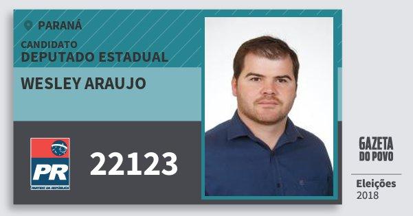 Santinho Wesley Araujo 22123 (PR) Deputado Estadual | Paraná | Eleições 2018
