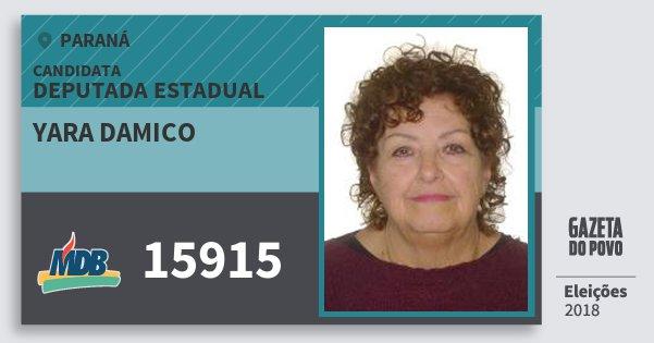 Santinho Yara Damico 15915 (MDB) Deputada Estadual | Paraná | Eleições 2018