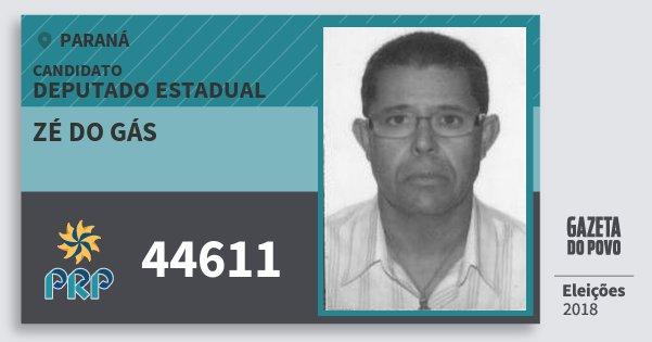 Santinho Zé do Gás 44611 (PRP) Deputado Estadual   Paraná   Eleições 2018