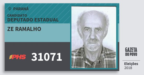 Santinho Ze Ramalho 31071 (PHS) Deputado Estadual | Paraná | Eleições 2018