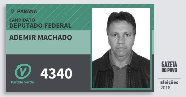 Santinho Ademir Machado 4340 (PV) Deputado Federal | Paraná | Eleições 2018