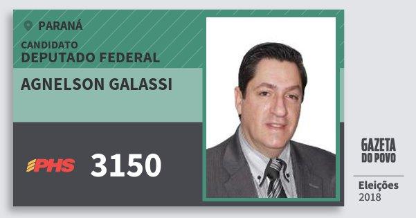 Santinho Agnelson Galassi 3150 (PHS) Deputado Federal | Paraná | Eleições 2018