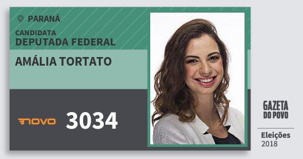 Santinho Amália Tortato 3034 (NOVO) Deputada Federal | Paraná | Eleições 2018