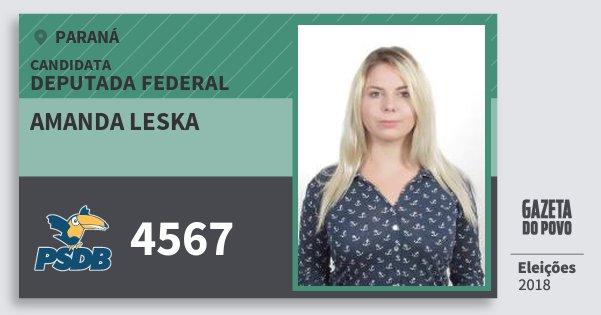 Santinho Amanda Leska 4567 (PSDB) Deputada Federal | Paraná | Eleições 2018