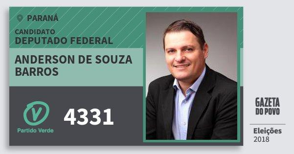 Santinho Anderson de Souza Barros 4331 (PV) Deputado Federal | Paraná | Eleições 2018