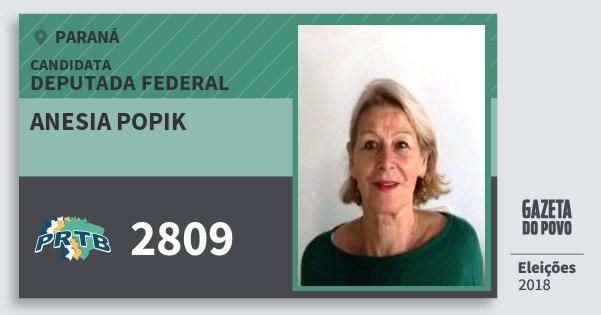 Santinho Anesia Popik 2809 (PRTB) Deputada Federal | Paraná | Eleições 2018