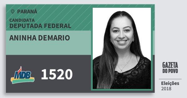 Santinho Aninha Demario 1520 (MDB) Deputada Federal | Paraná | Eleições 2018