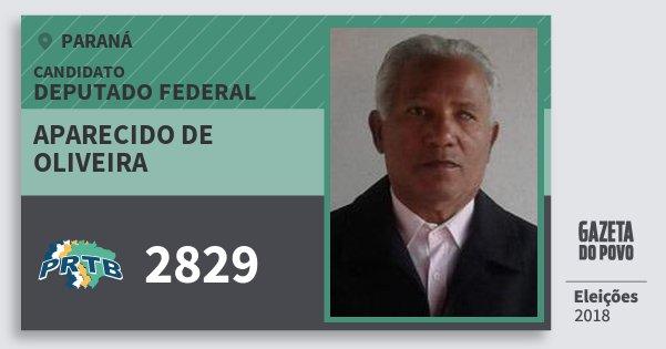 Santinho Aparecido de Oliveira 2829 (PRTB) Deputado Federal | Paraná | Eleições 2018