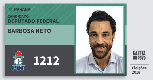 Santinho Barbosa Neto 1212 (PDT) Deputado Federal | Paraná | Eleições 2018