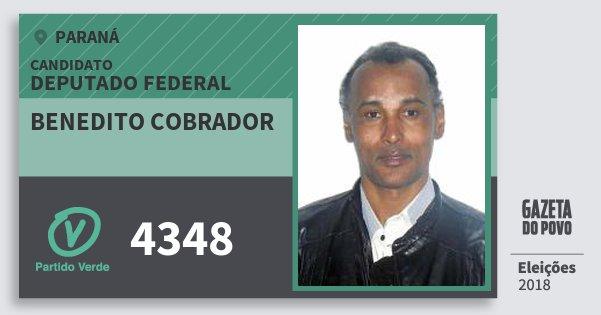 Santinho Benedito Cobrador 4348 (PV) Deputado Federal | Paraná | Eleições 2018