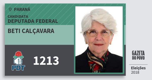 Santinho Beti Calçavara 1213 (PDT) Deputada Federal | Paraná | Eleições 2018