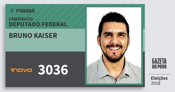 Santinho Bruno Kaiser 3036 (NOVO) Deputado Federal | Paraná | Eleições 2018