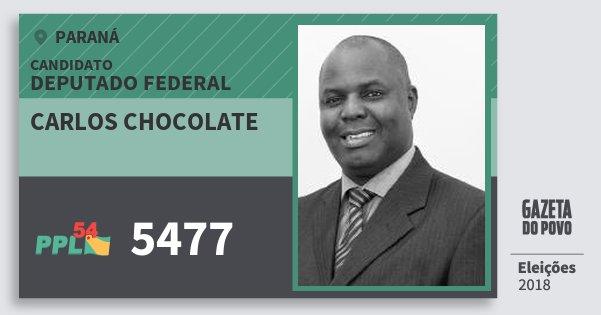 Santinho Carlos Chocolate 5477 (PPL) Deputado Federal | Paraná | Eleições 2018